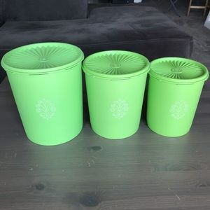 Vintage 60s Green Apple Tupperware Canister Set